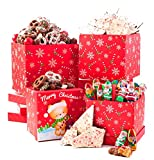 Be Merry Christmas Santa Gourmet 3 Tier Tower For Holiday Gifting. Holly Jolly Jingle chocolate mix , Peppermint Bark Gift Basket