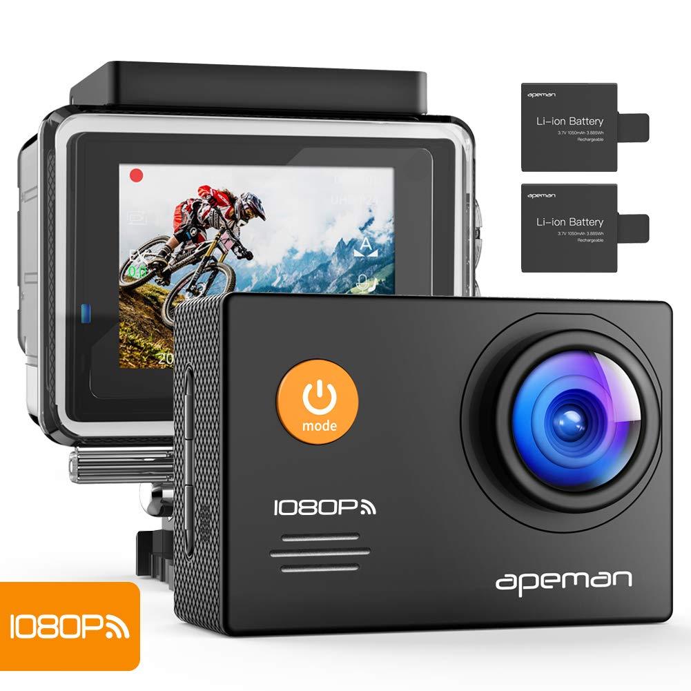 APEMAN WiFi Action Cam 1080P FHD 14MP Actionkamera 30M Wasserdicht mit Zwei 1050mAh Akkus und 24 Zubehör-Kits A70