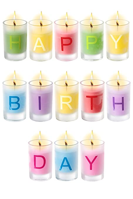 Happy Birthday Candles Set Of 13 Individual Letter Amazoncouk Kitchen Home