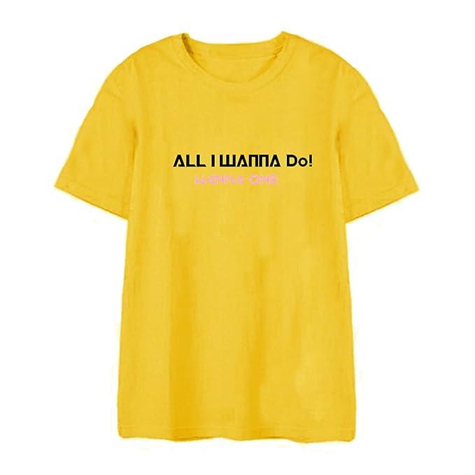 Wanna One KPOP 2018 versión Coreana Camiseta de Manga Corta de algodón Unisex Negro Gris Blanco