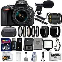 Nikon D5600 Digital SLR Camera Black with 18-55mm + 32GB 25PC Accessory Video Bundle Kit