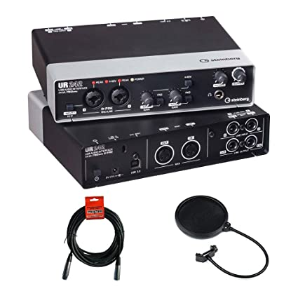 Steinberg UR242 - USB 2 0 Audio Interface with Dual Microphone Preamps,  iPad Connectivity, XLR Cable & Pop Filter Kit