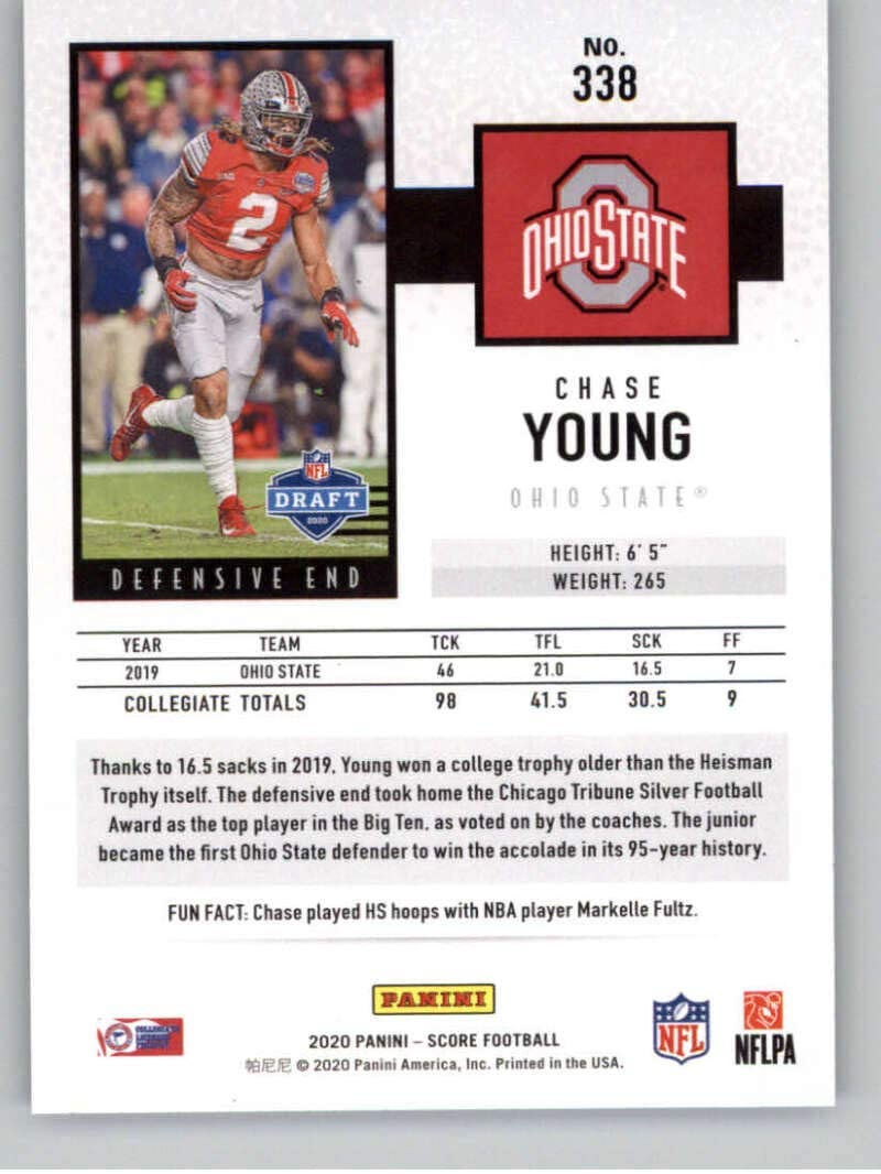 Amazon Com 2020 Score Football Purple 338 Chase Young Rc Rookie Ohio State Buckeyes Official Nfl Trading Card Made By Panini America Collectibles Fine Art