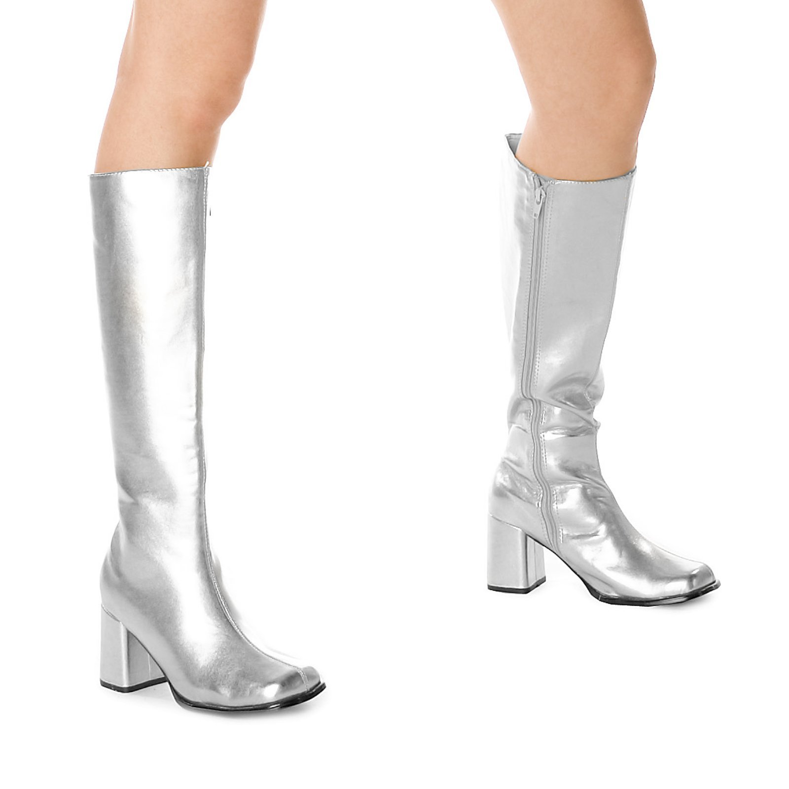 ELLIE Shoes Knee High Boot Side Zipper Retro Metallic GOGO Silver -12 by Ellie Shoes
