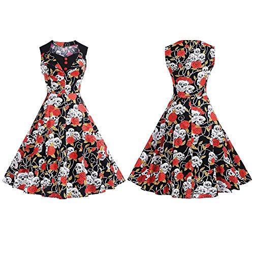 Abito da Donna a A- line Scollo a V Moda e Elegante Decorazione a Bottoni Vestiti in Cotone Stampa Teschio e Fiori Abiti da Sera in Cerimonia Vestito Estate