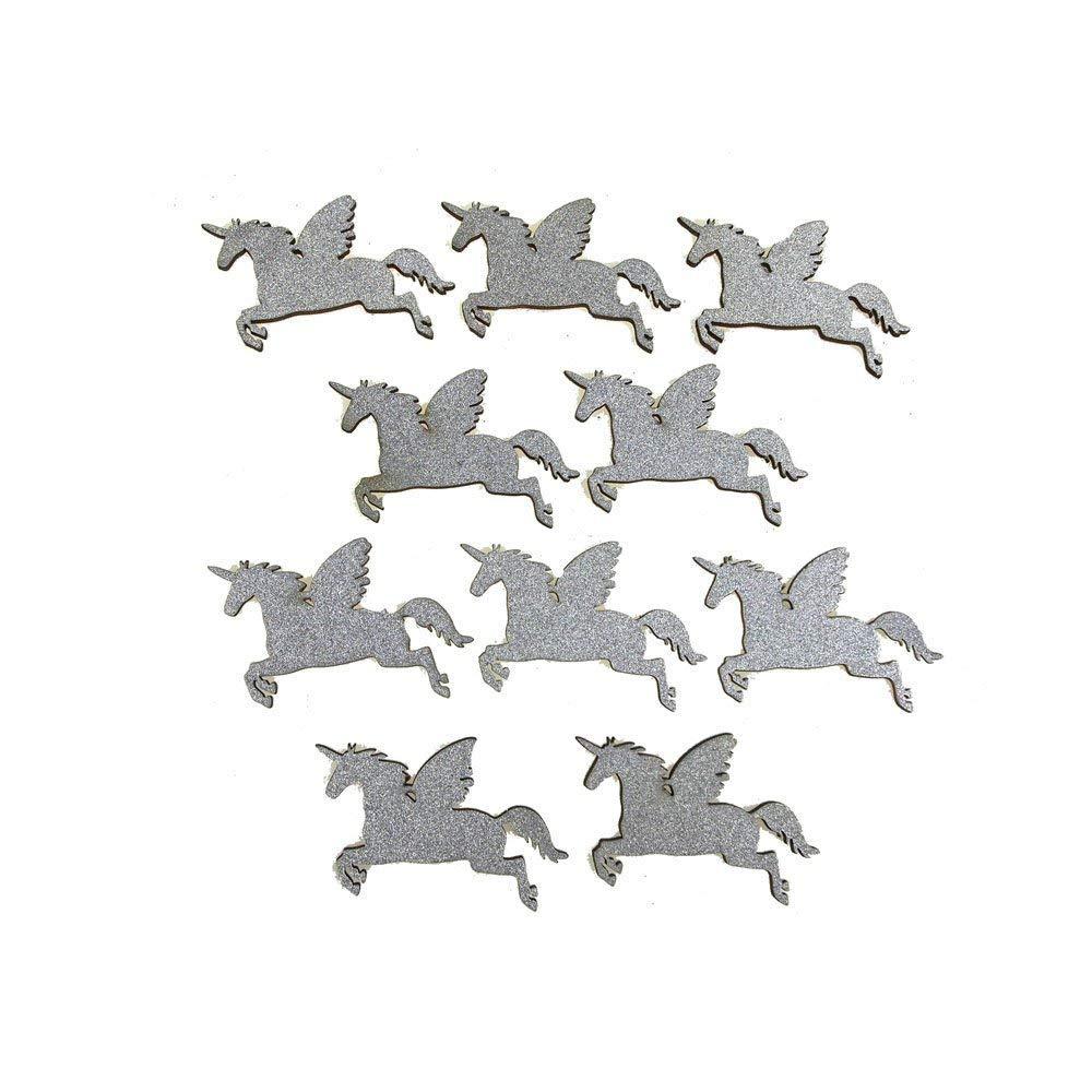 Homeford FCF00000WPG3SLVE Glitter Wood Favors, 2-1/4'', Silver