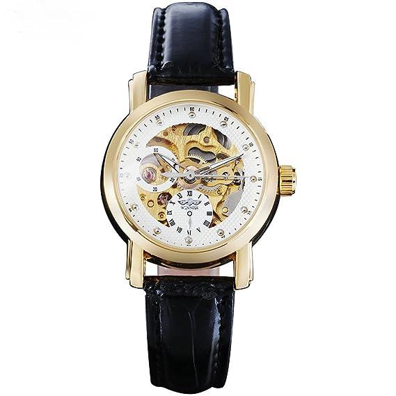 Winner Fashion mujer correa de piel mecánica relojes Casual marca Ladies esqueleto relojes de las mujeres