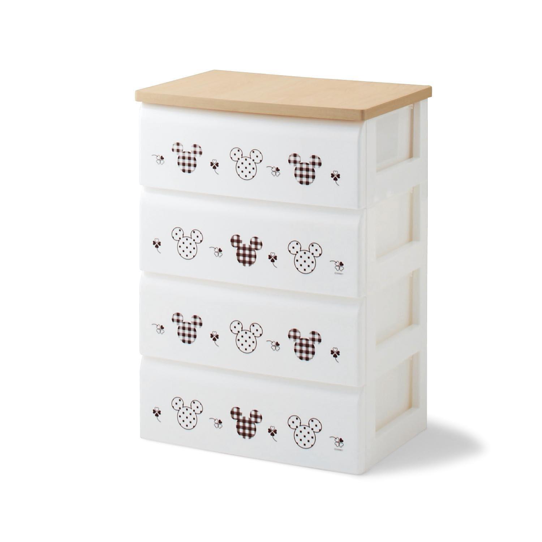 チェスト ミッキーマウス (本体)ホワイト×(柄)ブラウン タイプ:4段 B076CLHFM6
