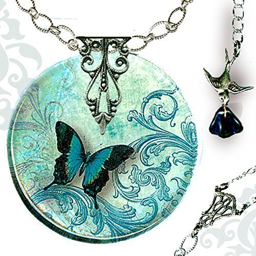 - Teal Butterfly Necklace - Reversible Glass Art - Voyageur - The Alhambra Collection - Teal Flight of the Butterfly