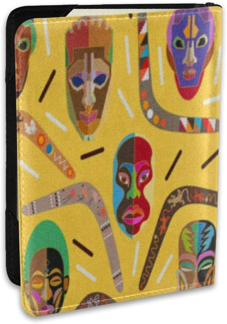 Borde panorámico con bumeranes australianos y máscaras africanas de Madera Fundas para pasaportes, Billetera para Pasaporte y Soporte para Pasaporte