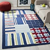Cheap Safavieh Kids Collection SFK318A Handmade Blue and Multi Cotton Area Rug (5′ x 8′)