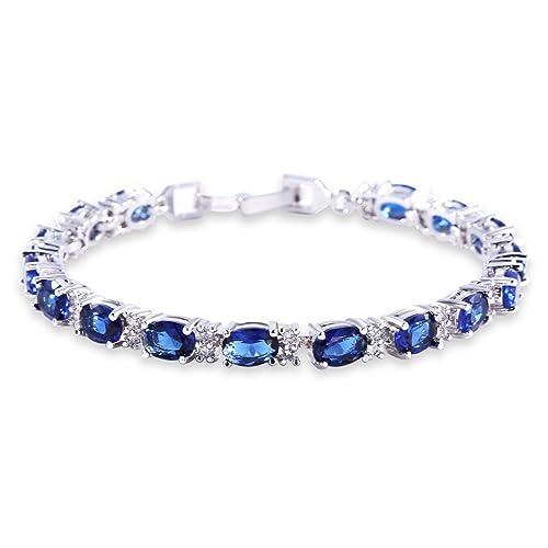 bc6af4058f14 GULICX Oro Blanco galvanizado circonita Azul Cristal Pulsera Romana Tenis  Pulsera Enlace Cadena de Color Azul Zafiro  Amazon.es  Joyería