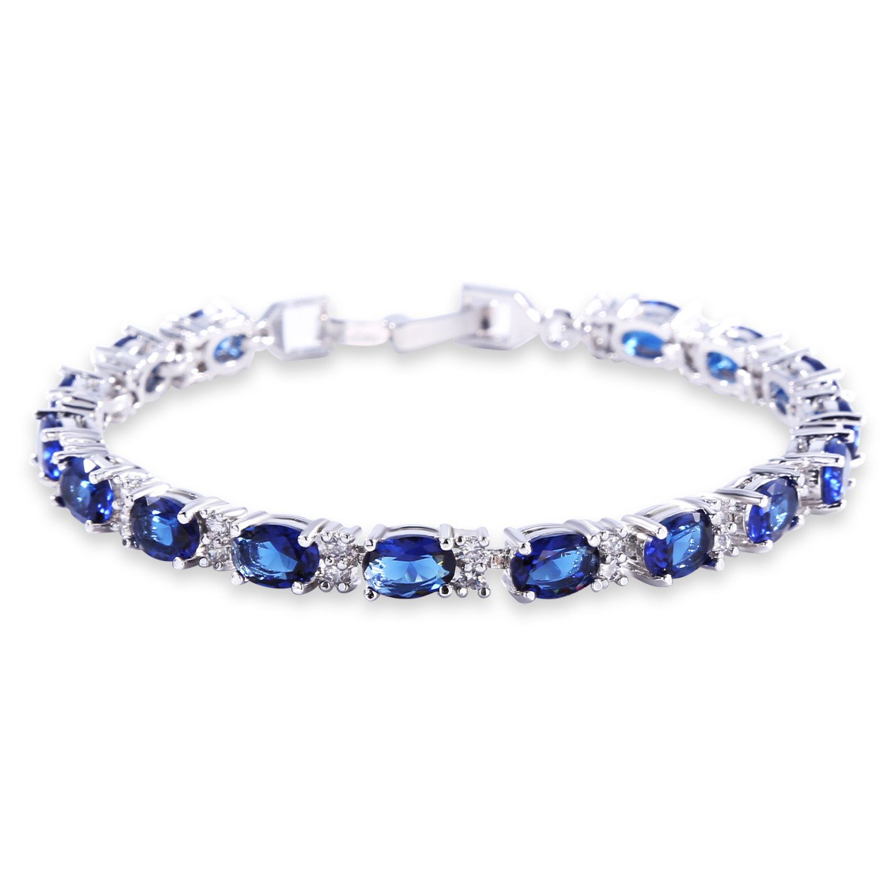 GULICX White Gold Electroplated Cubic Zirconia Blue Crystal Roman Tennis Bracelet Sapphire Color Link Chain