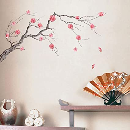Amazon Com Creative Removable Diy Pink Flower Wall Stickers