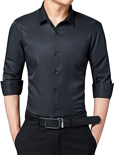LEEDY Camisa de Manga Larga para Hombre con Bolsillo Formal Slim Fit Regular Business Fashion Body-Building Pure-Color Manga Larga: Amazon.es: Ropa y accesorios