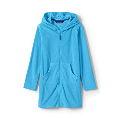 4446a9ae26d3f Amazon.com: Lands' End Girls Kangaroo Pocket Swim Cover-Up: Clothing