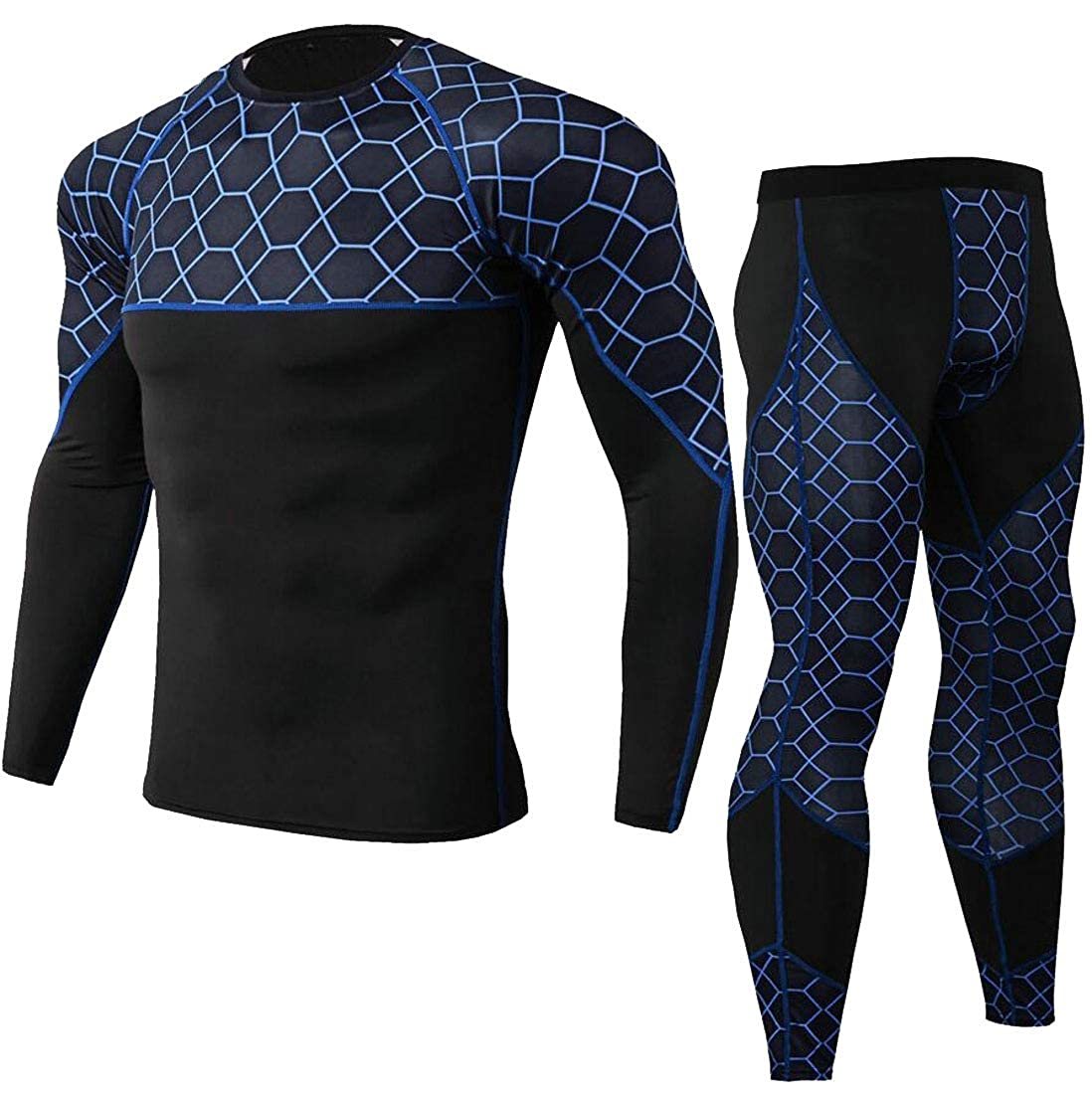 omniscient Men 2 Piece Compression Base Layers Suits with Shirts and Pants