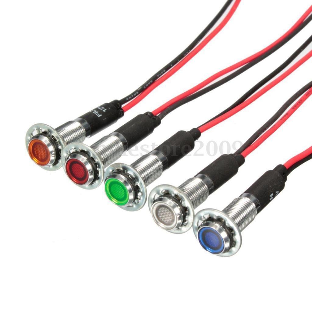 1 Pieza LED Piloto Tablero del Panel Indicador Luminoso 8 mm 12V Verde