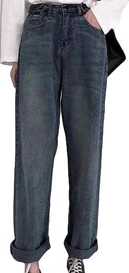Alhylaジーンズ レディース 厚手 あったか ワイドパンツ ハイウエスト ゆったり ロングパンツ 防寒 カジュアル ストレートパンツ ジーパン 大きいサイズ 冬