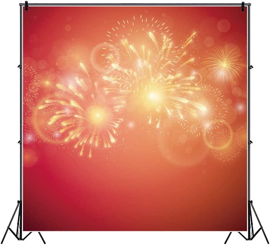 Haoyiyi 10x10ft New Years Backdrop Red Sparkle Bokeh Halo Dots Shinning Sparkling Background Photography Photo Boy Girl Events Event Home Office Birthday Party Video Banner Decor Portrait