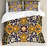 Arabian Duvet Cover Set by Ambesonne, Arabic Islamic Floral Mosaic Patterns South Eastern Antique Orient Ottoman Artwork, 3 Piece Bedding Set with Pillow Shams, King Size, Multicolor