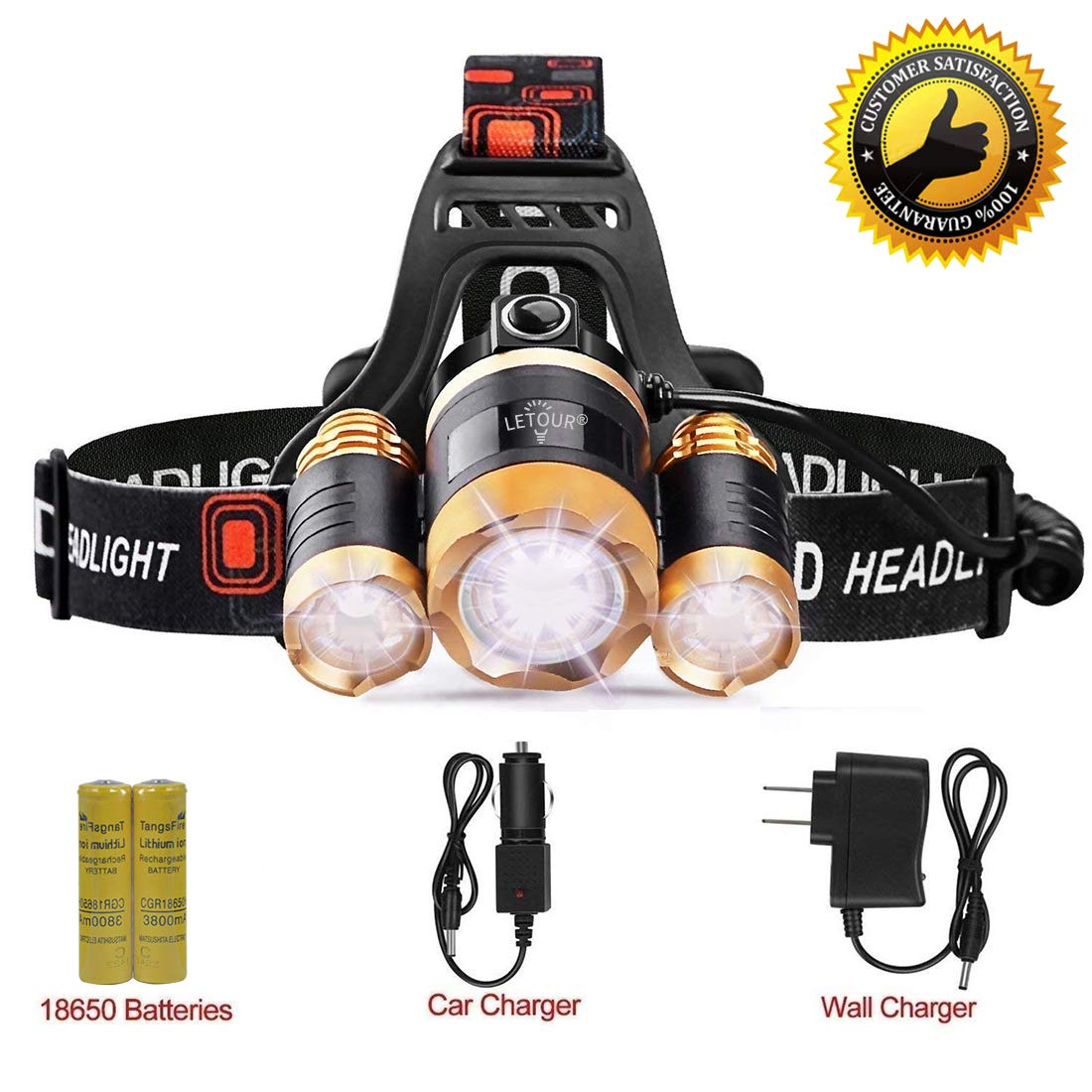 LETOUR Headlight, Brightest 6000 Lumen CREE LED Work Headlamp,18650 Rechargeable Waterproof Flashlight with Zoomable Head Light,Bright Head Lights for Camping Running Hiking