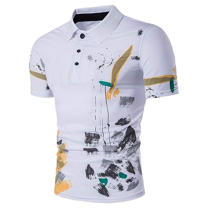 Polo De Los Hombres Camiseta De Polos Los Modernas Casual De Manga Corta De Verano  Camiseta Polo Respirable con Tops De Estampado De Flores Básico  ... 639d55371d5ee