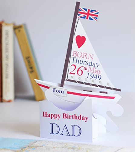 Pop Up Personalised Sailing Boat Birthday Card For DadSonGrandsonNephew