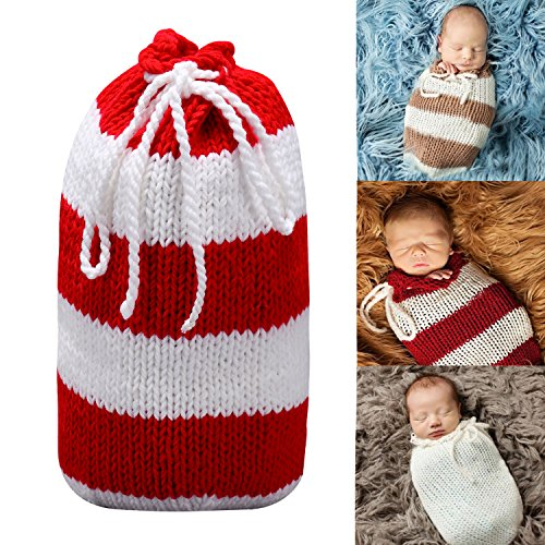 Baby Photography Props Handmade Newborn Sleeping Bag (Red) - 4