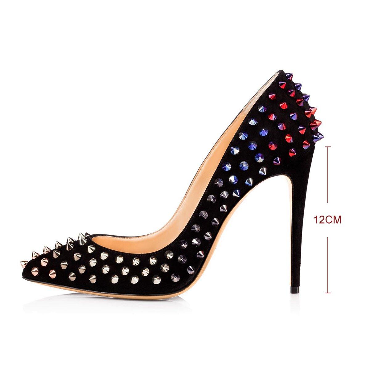 Onlymaker Damenschuhe High Heels Geschlossene Toe mit Nietendecortation Nietendecortation mit Pumps Rot und Schwarz 17bc73
