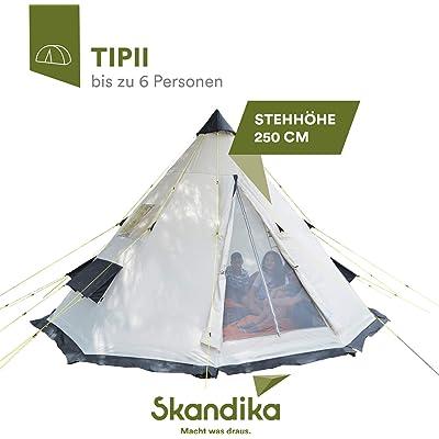 skandika Tipii - Tienda de campaña Tipo India - 6 Personas - diámetro 365cm - Columna de Agua 3.000 mm - Altura 250 cm