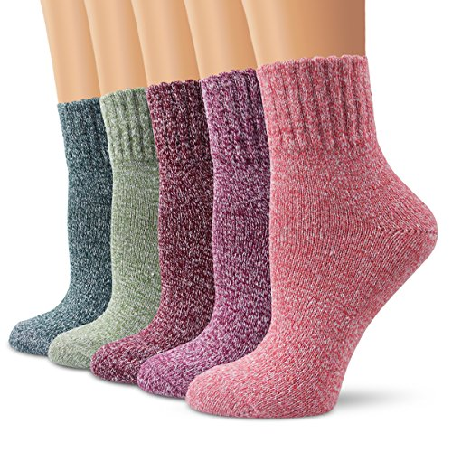 Ambielly Winter Women Socks 5 Pairs Vintage Style Knit Wool Casual Socks Thick Warm Colorful Socks (SD10004F)
