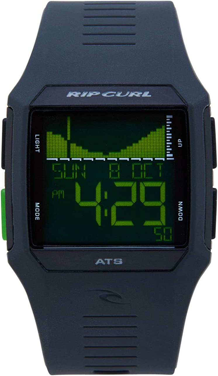 Rip Curl Men's Rifles Digital Tide Surf Watch | Black | Outdoor Sports Waterproof Watch, Display Quartz, Detailed Tide View with Alarm, Stopwatch + Timer