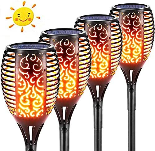 JIOR Solar Torches Lights Brighter 96 LED Waterproof Flickering Flames Torches Lights Outdoor Decorations Lighting Duck to Dawn Auto On Off for The Courtyard Warm Light 4 Pack
