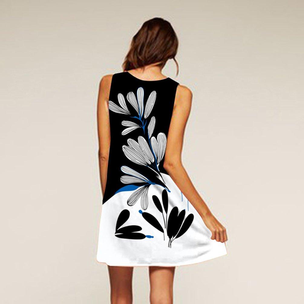 41754a33e4b5 ZKOOO Été Femme Col Rond sans Manche Genoux Robes Plage Noir Blanche  Fleurie Imprimé Habillées A-Line Boule Courte Robe Vest Ample Fille Mini  Dress  ...