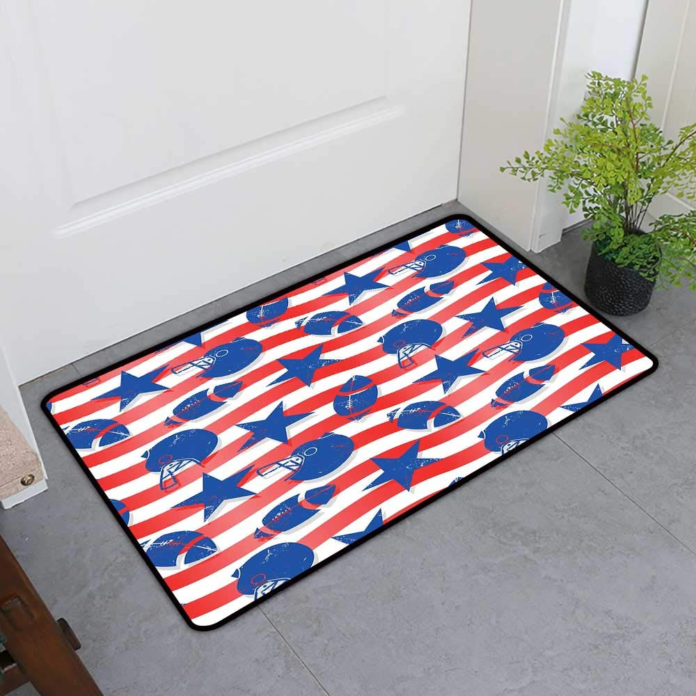 TableCovers&Home Absorbent Door Mat, Football Decorative Rugs for Living Room, Wavy Stripes and National Sport Icons in American USA Inspired Colors (Coral Violet Blue White, H36 x W60)
