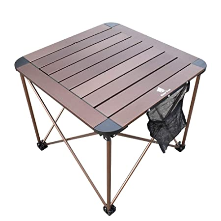 Camping Side Table, Geertop Portable Camp Roll Up Table Square Folding Table Aluminum Lightweight Table for Picnic, Beach, Boat, BBQ, Compact Outdoor Kitchen Dining Cooking Backpacking Hiking Table