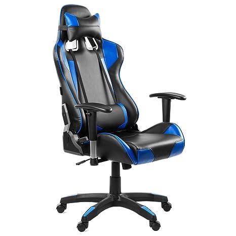 Mc Haus Azul Silla Gaming de Escritorio y Oficina con Respaldo Reclinable, Piel Sintética, Blue, 70x68x133 cm
