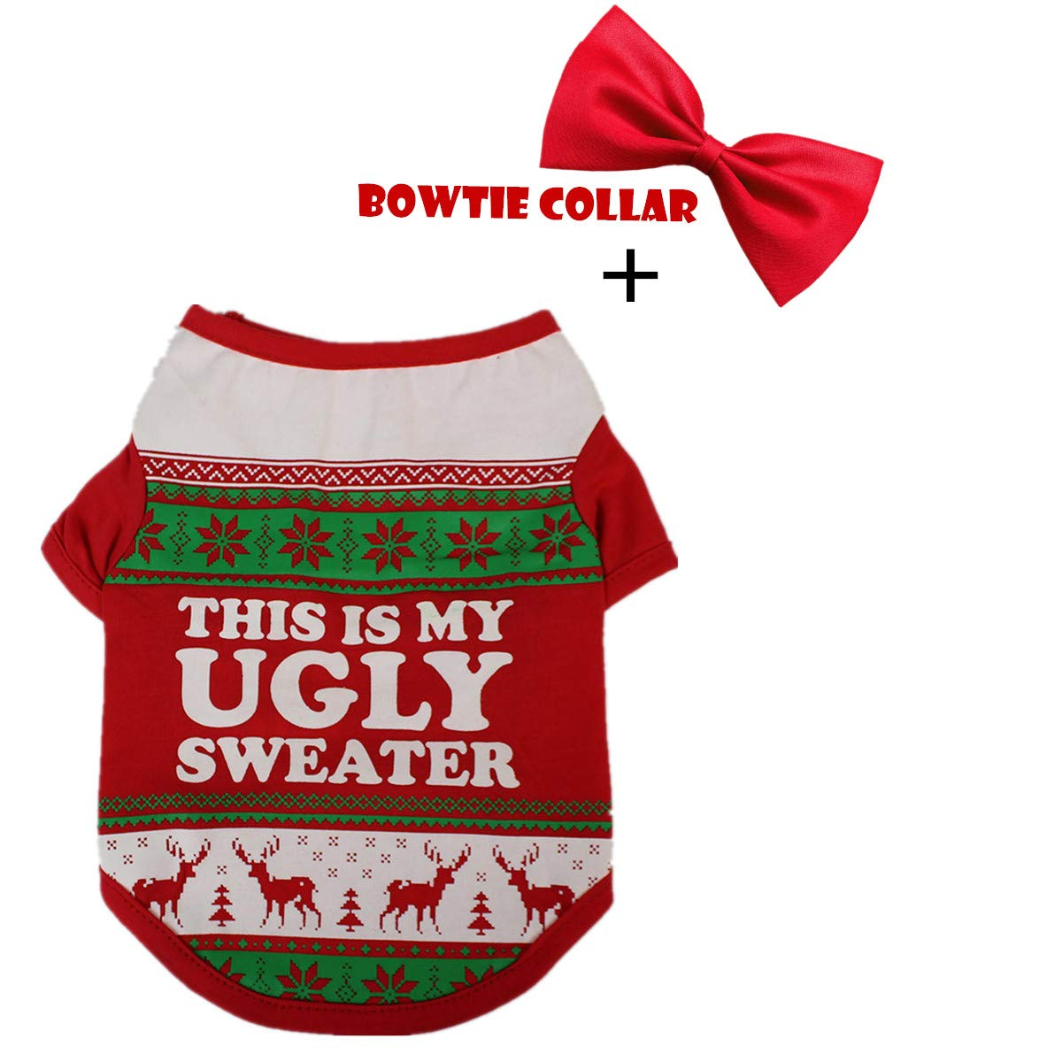 Red Medium Red Medium vmree Dog Apparel, Christmas Small Pet Dogs Clothing T-Shirt + Bowtie Collar