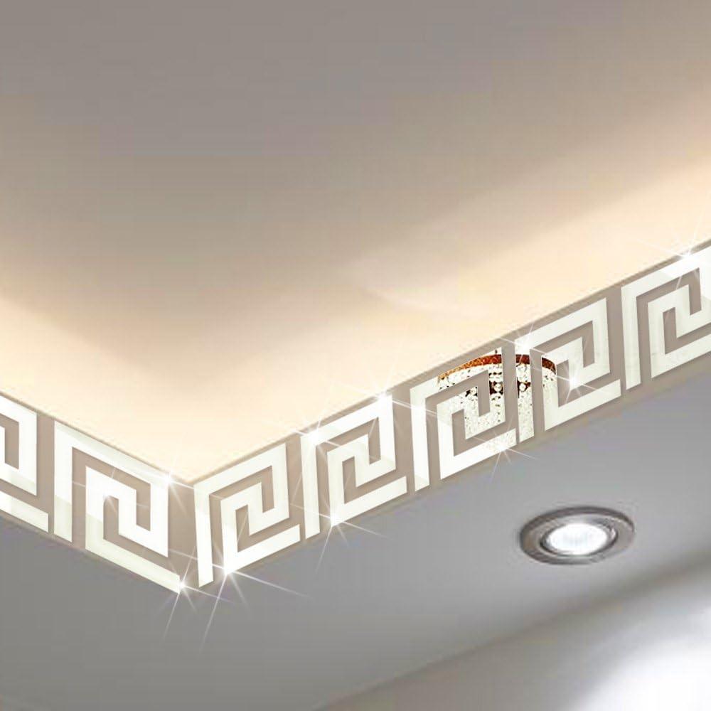 Mirror Border Itta X Large 25pcs X15x15cm Diy 3d Acrylic Maze Pattern Border Ceiling Stickers Wall Decor Home Art Mural Wedding Room Hotel Decal Silver Amazon Com