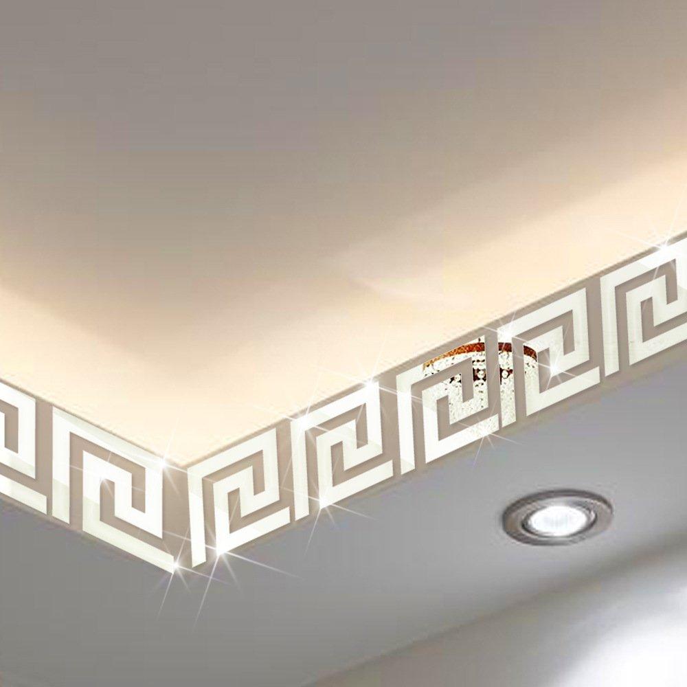 ITTA X-large 25pcs x15x15cm Mirror Border, DIY 3D Acrylic Maze Pattern Border Ceiling Stickers Wall Decor Home Art Mural Wedding Room Hotel Decal (Silver)