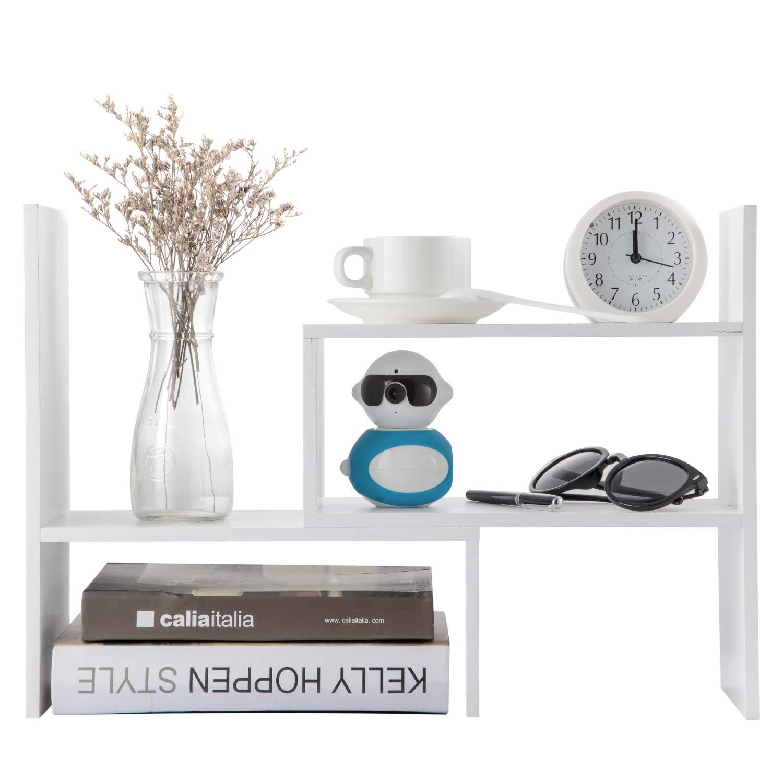 Desktop Organizer Office Storage Adjustable Display Bookshelf Double Shelf Desk Supplies for Office Kitchen Multipurpose Rack by zixijiaju
