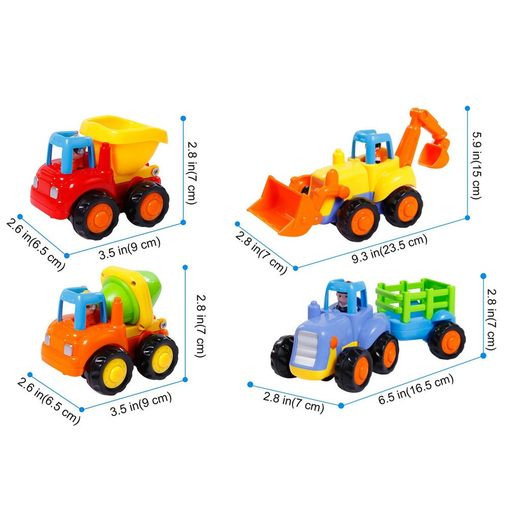 Friction Powered Cars Push and Go Car Construction Vehicles Toys Set of 4 Tractor,Bulldozer,Cement Mixer Truck,Dumper Push Back Cartoon Play for  2 3 Years Old Boys Toddlers Kids Gift by GoStock (Image #2)