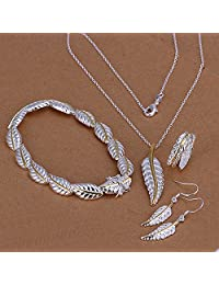 Women's 925 Sterling Silver Heart Necklace, Bracelet and Earring Set