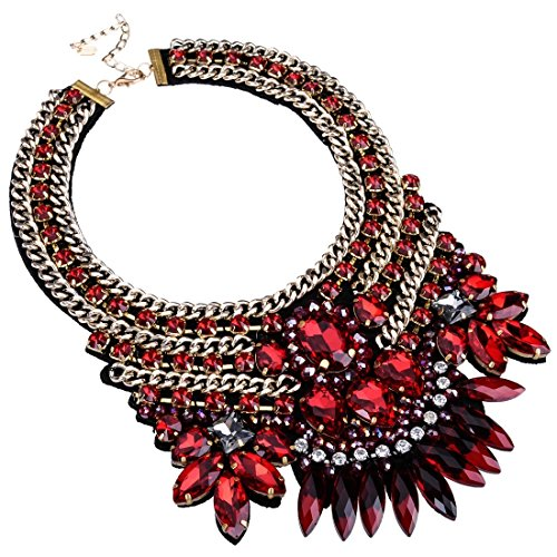 Chunky Crystal Rhinestone Statement Necklace, Gold Tone Collare Choker Bib Pendant Necklace for Women Fashion Custome Jewelry Necklaces Crystal Bib Statement Necklace
