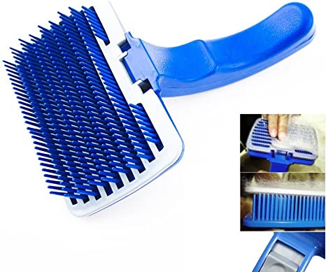 Stainless Steel Teeth Pet Comb Dogs Cats Grooming Brush Tool for Removing Loose Hair//Dead Fur//Tangles Pet Self Cleaning Slicker Brush