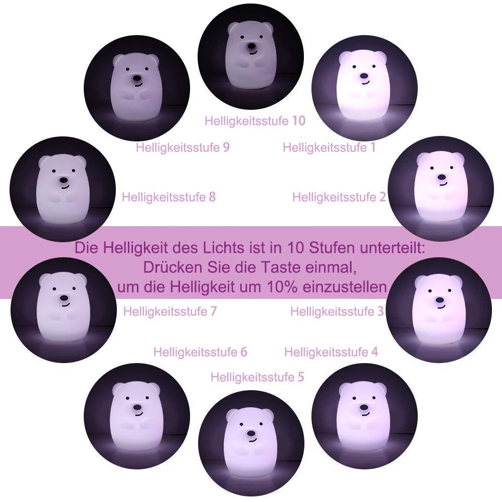 TOPERSUN LED Nachtlicht Kinder 9 Farben Fernbedienung Nachtlampe Baby Nachtleuchte aus Silikon mit Touch tragbaren f/ür Deko Geschenk