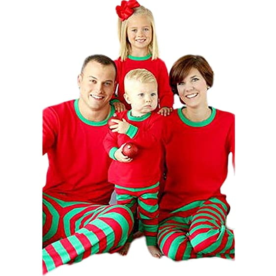 24cb9c8a8f ... BSTWLKJ Christmas Casual Stripe Family Matching Cotton Pajama Set Kids  Red Top With Red Green Striped ...