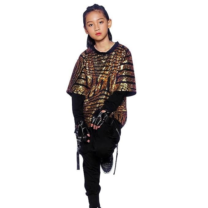 b9986d2d559d Amazon.com  Boys Girls Paillette Glitter Dancewear Hip Hop Jazz ...