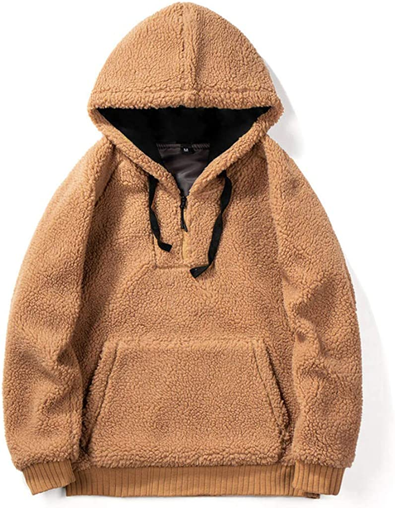 Beautyfine Couple Lamb Plush Hooded Sweatshirts Round Neck Color Zipper Autumn Winter